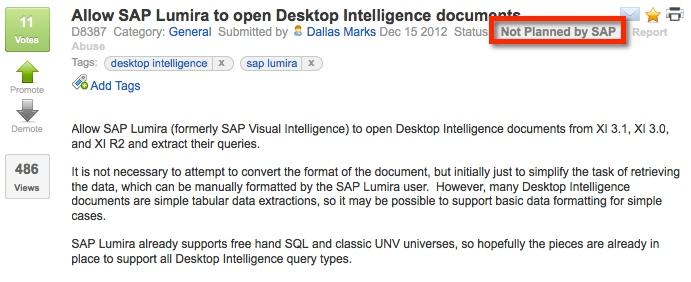 SAP Idea Place Allow Lumira to Open Desktop Intelligence