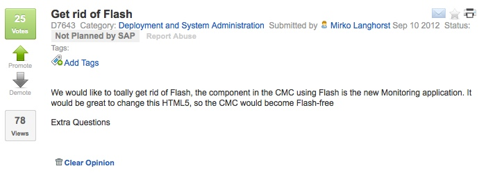 SAP Idea Place Eliminate Flash from CMC Monitoring