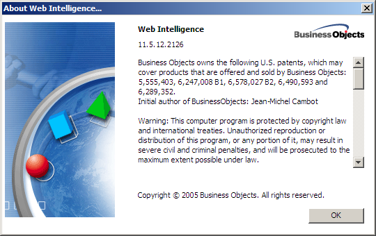 Webi About BusinessObjects version XI R2 SP6 FP6.4