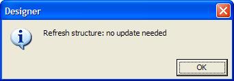 Universe Designer Refresh Structure No Update Needed