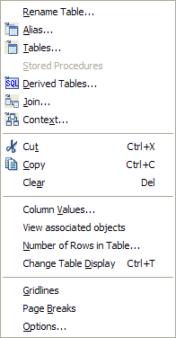 Universe Designer Refresh Structure Right Click on Table