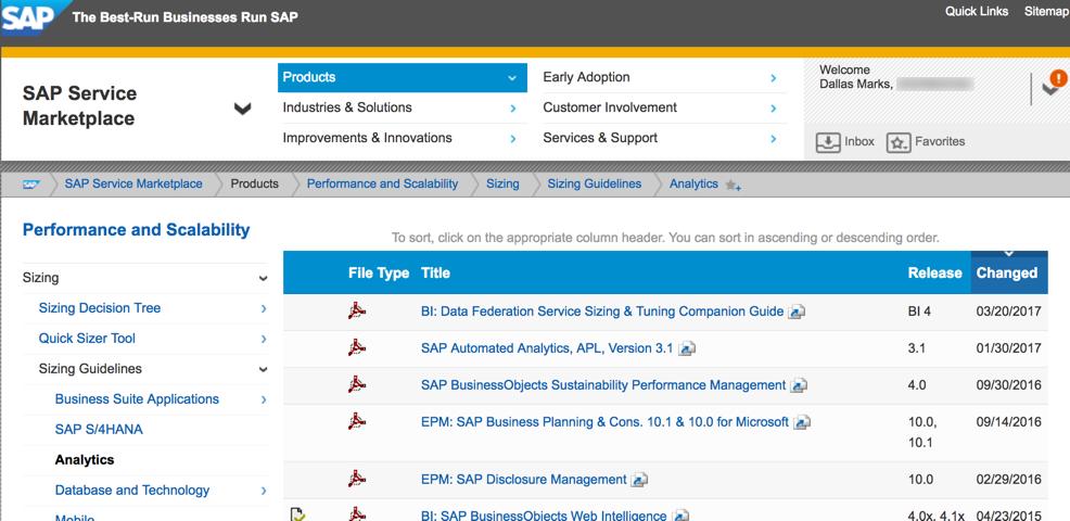 SAP Sizing Site