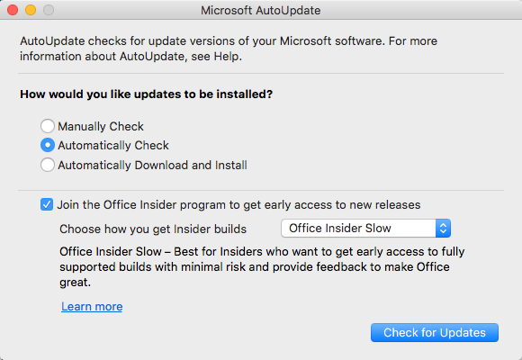 Microsoft Office Auto Update for Mac