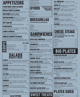 Placemat and To-Go Menu