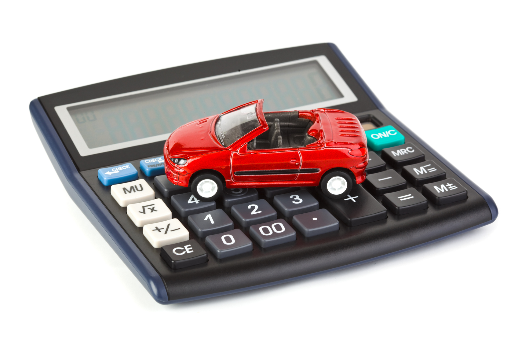 Calculator and toy car