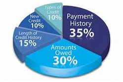 Blue pie chart of how your credit score is calculated