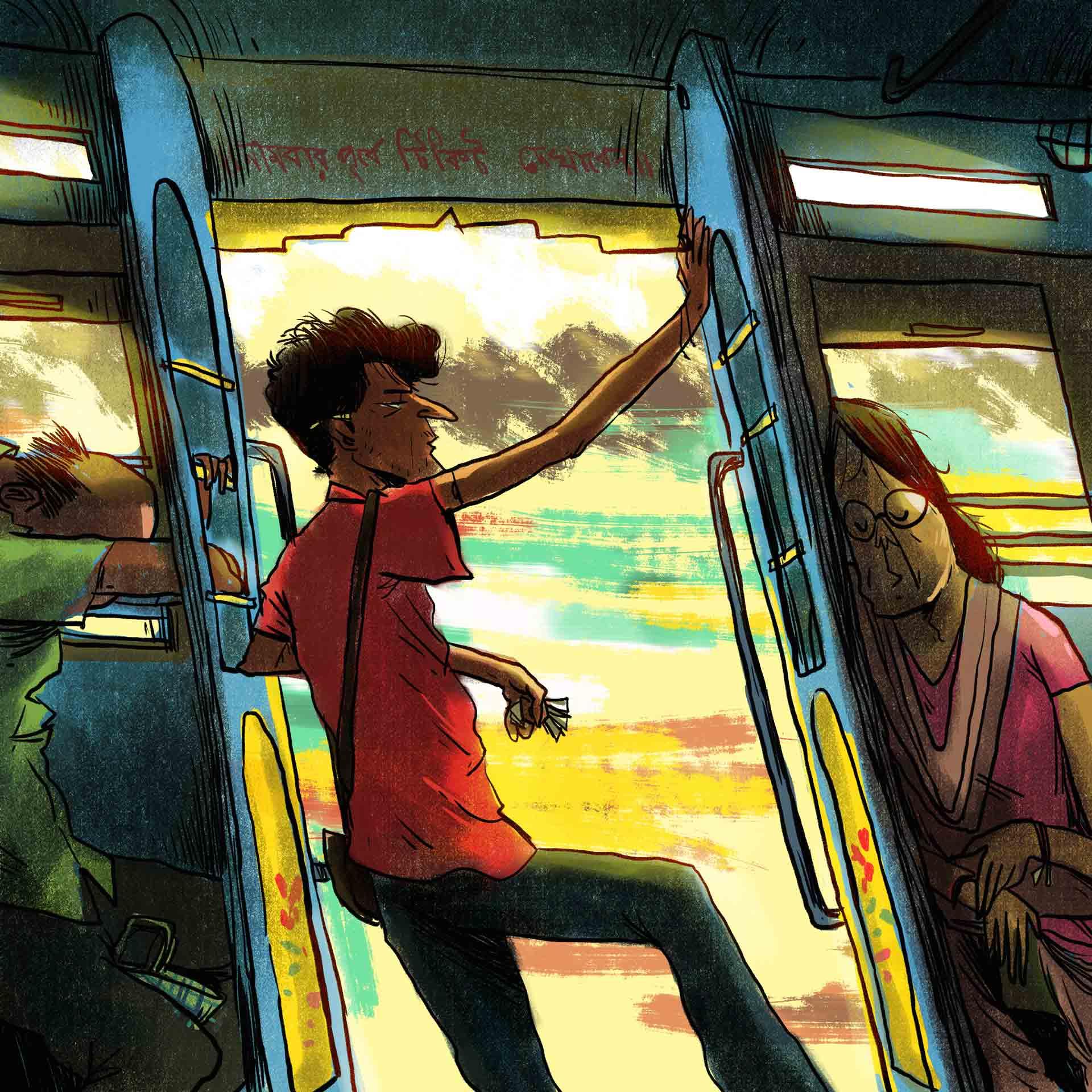 man standing at bus door