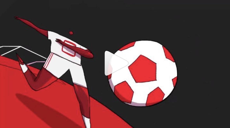 footballer hitting football