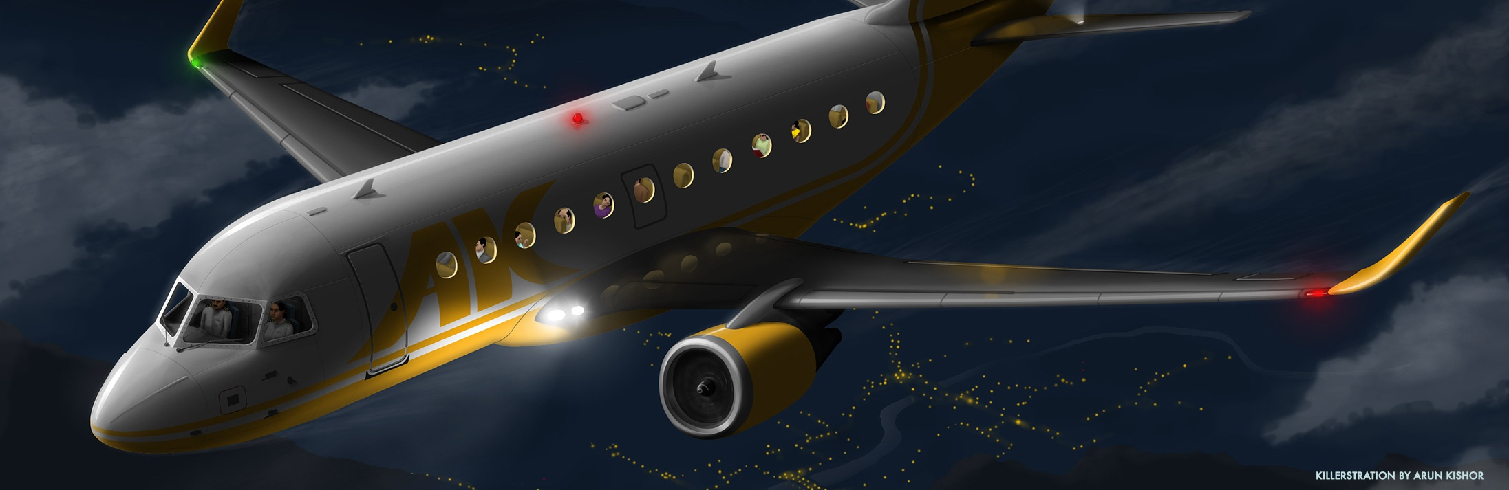 Aeroplane illustration by Arun Kishor