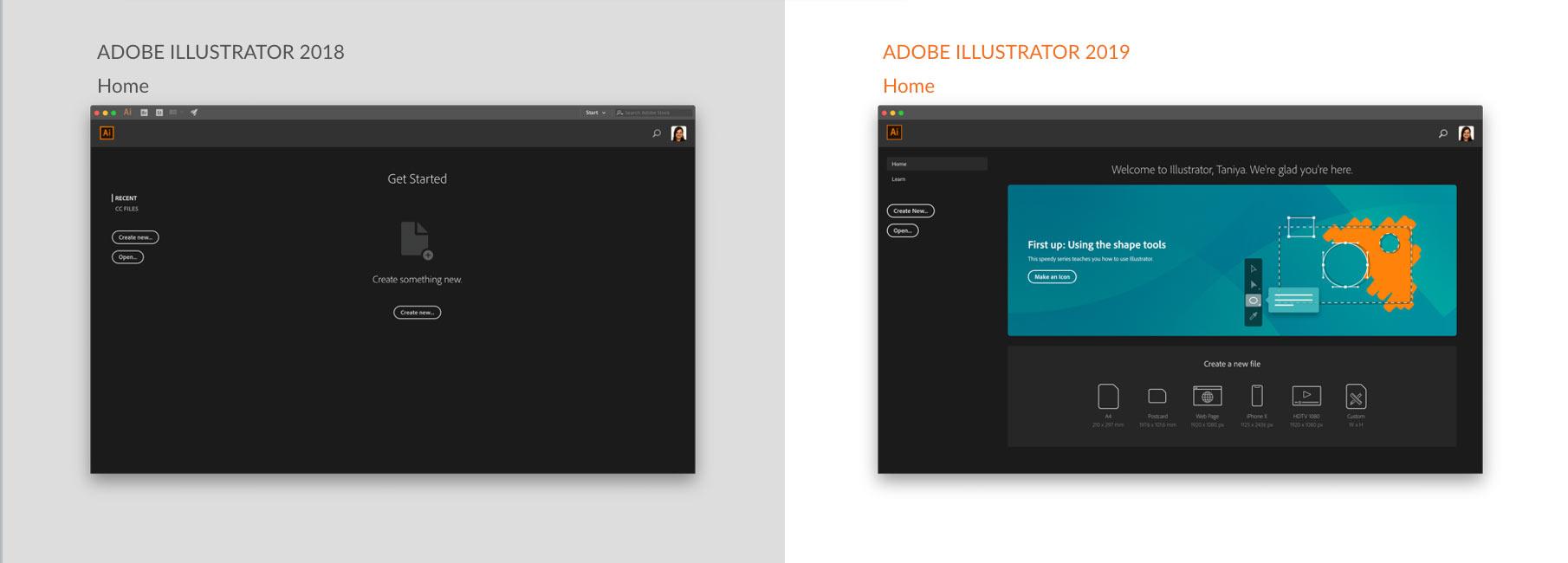 Illustrator Homescreen revamp