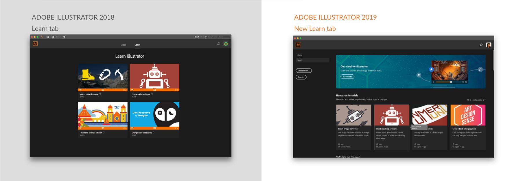Learn on 2019 screen in Illustrator