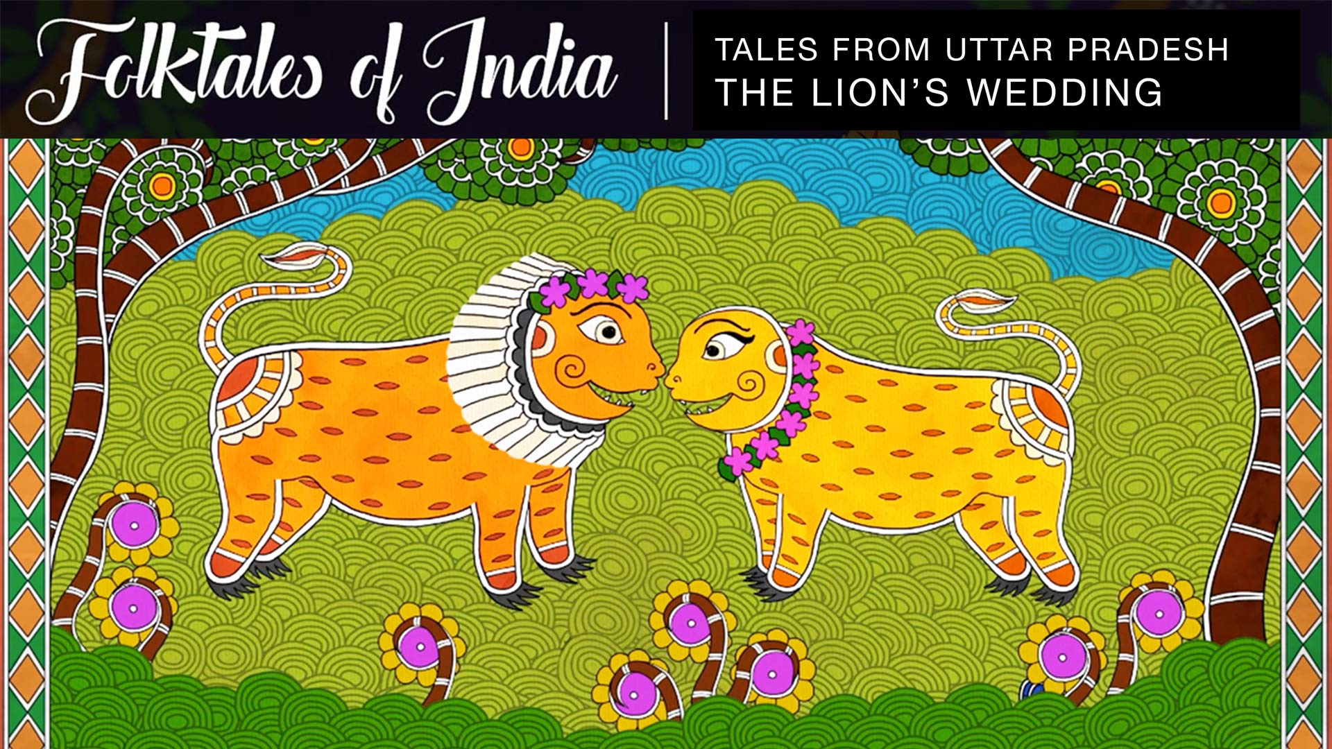 two lions in indian traditional art