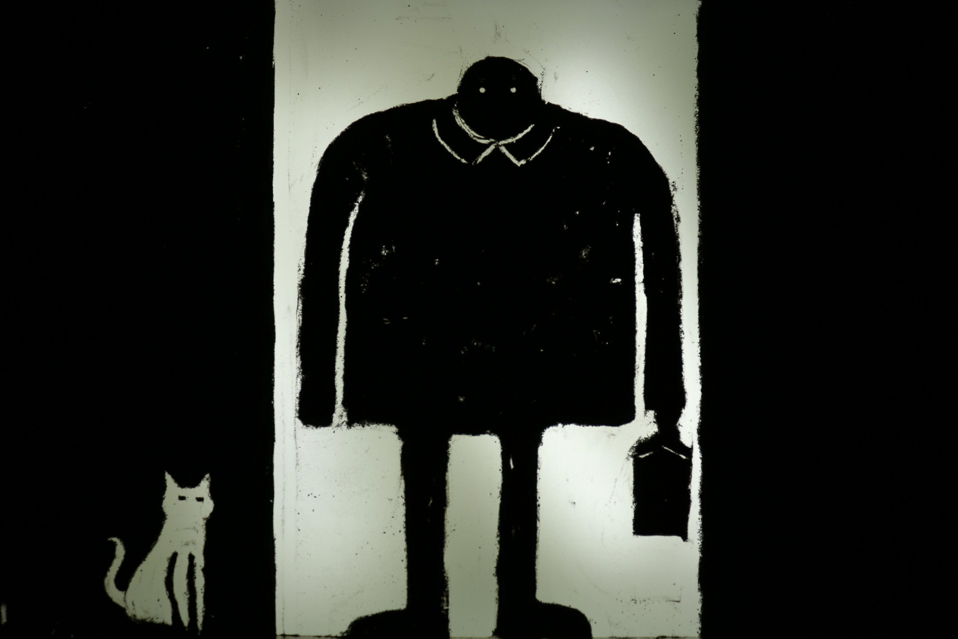 man and cat sand animation