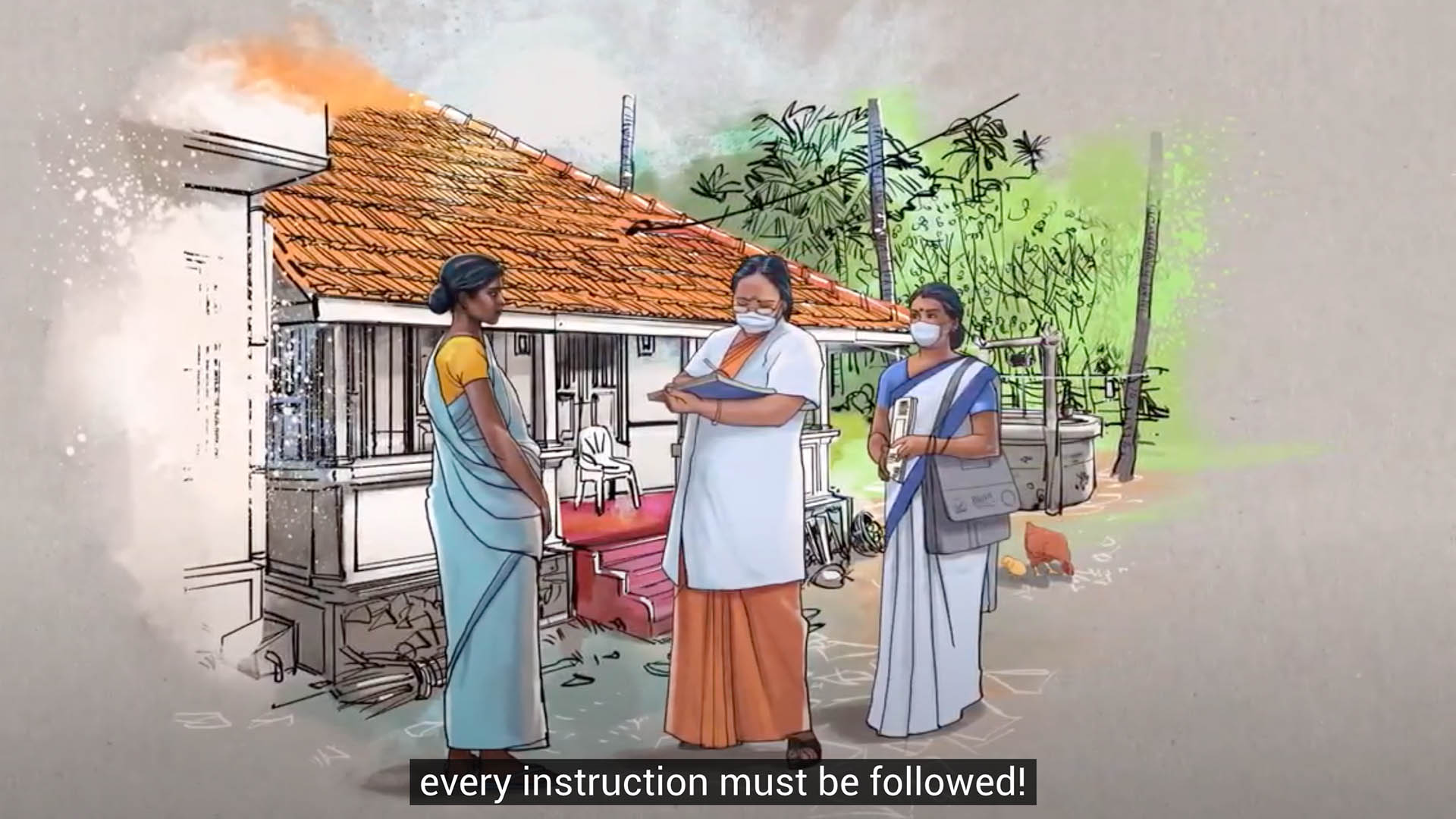 rural doctor instructing women
