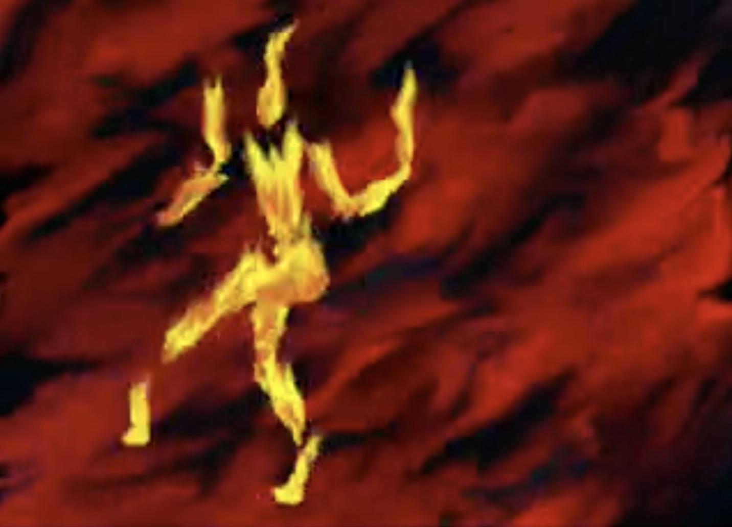 fire dancing man illustration