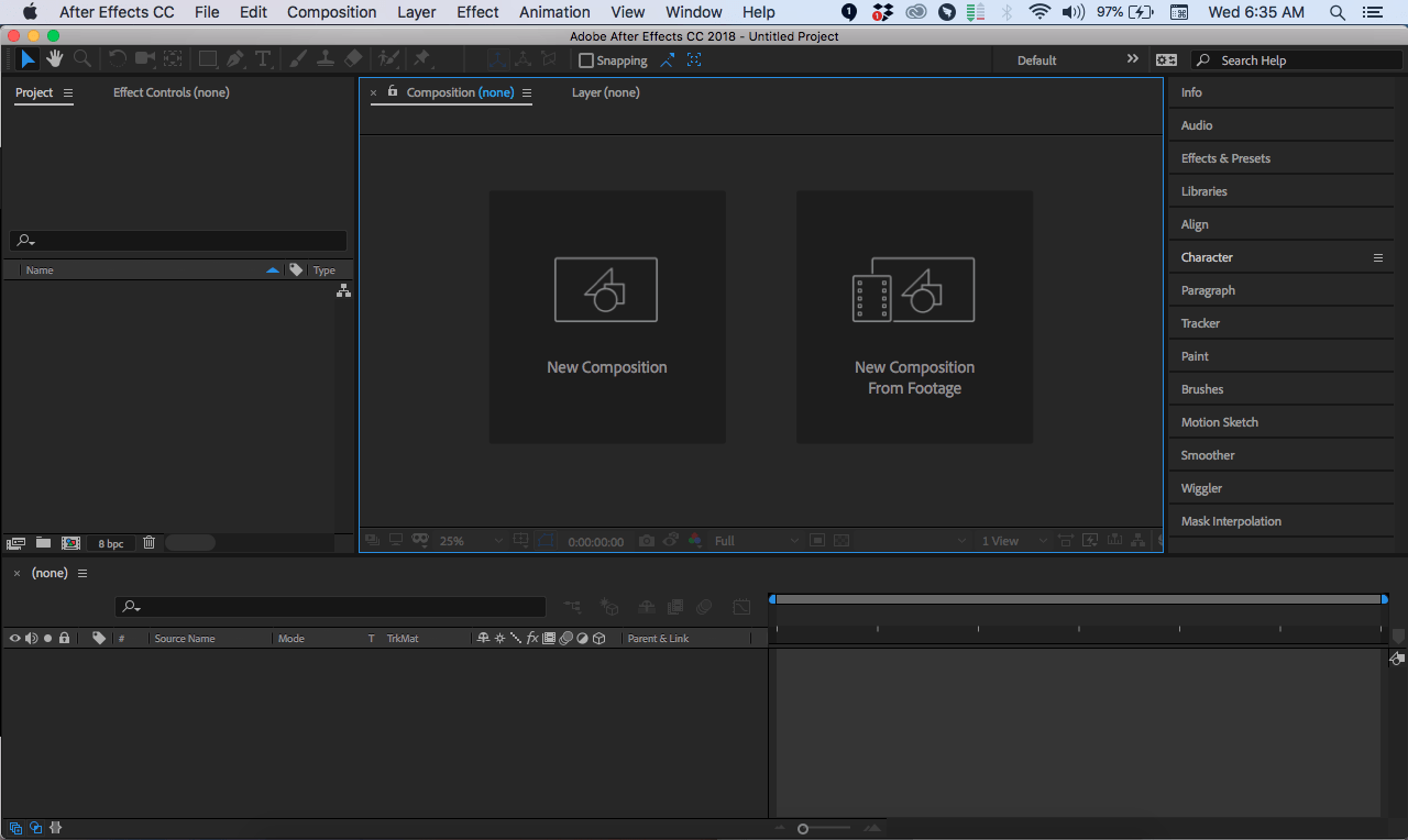 7 aftereffects interface