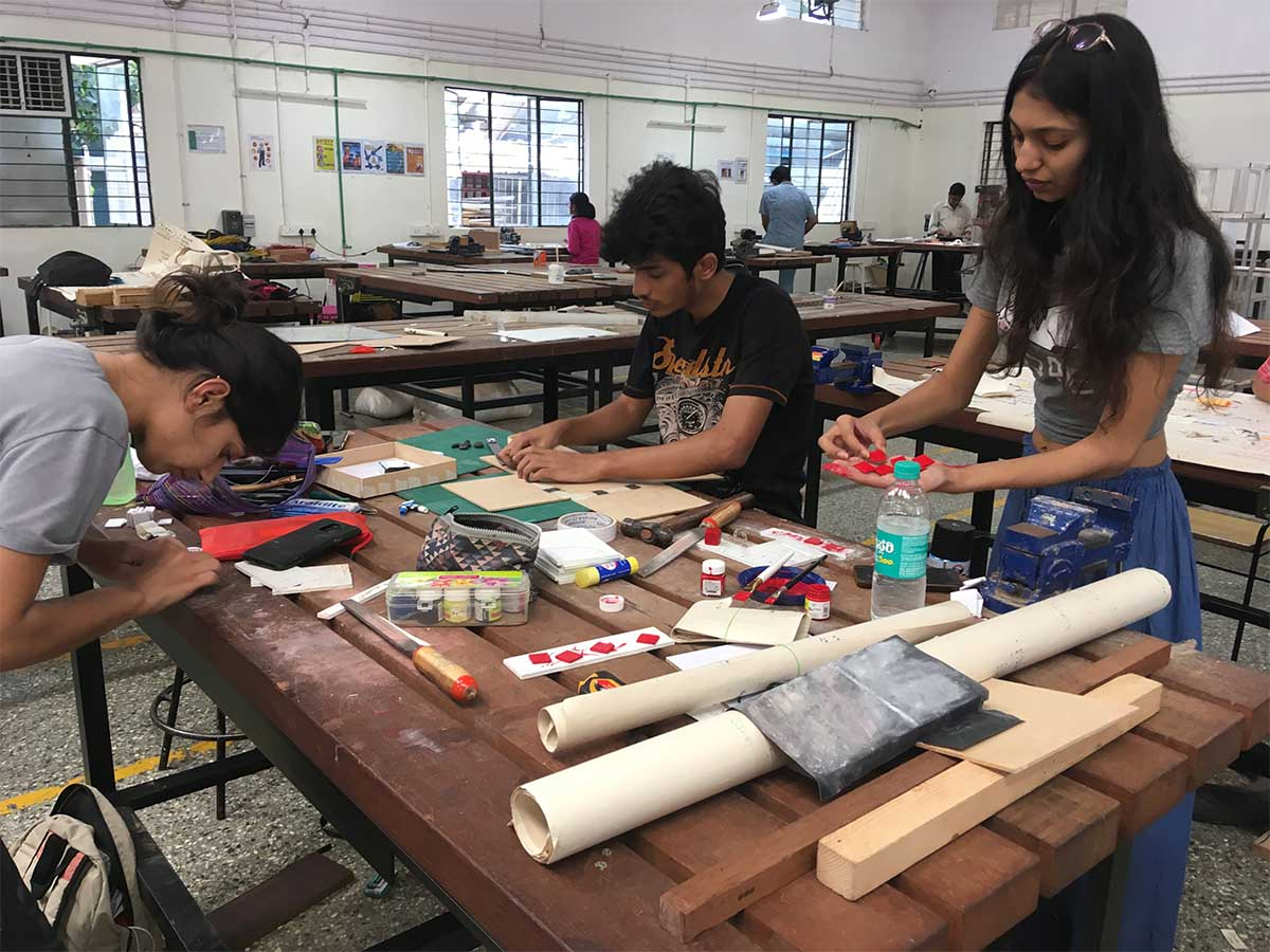 Some of my students at prototyping a game during a workshop at Srishti School of Art, Design and Technology, Bangalore, 2019-2
