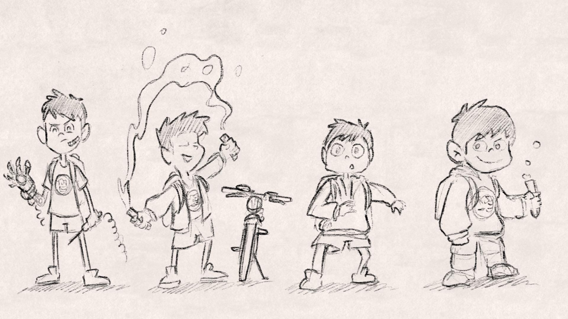 Rough character design sketches at Disney