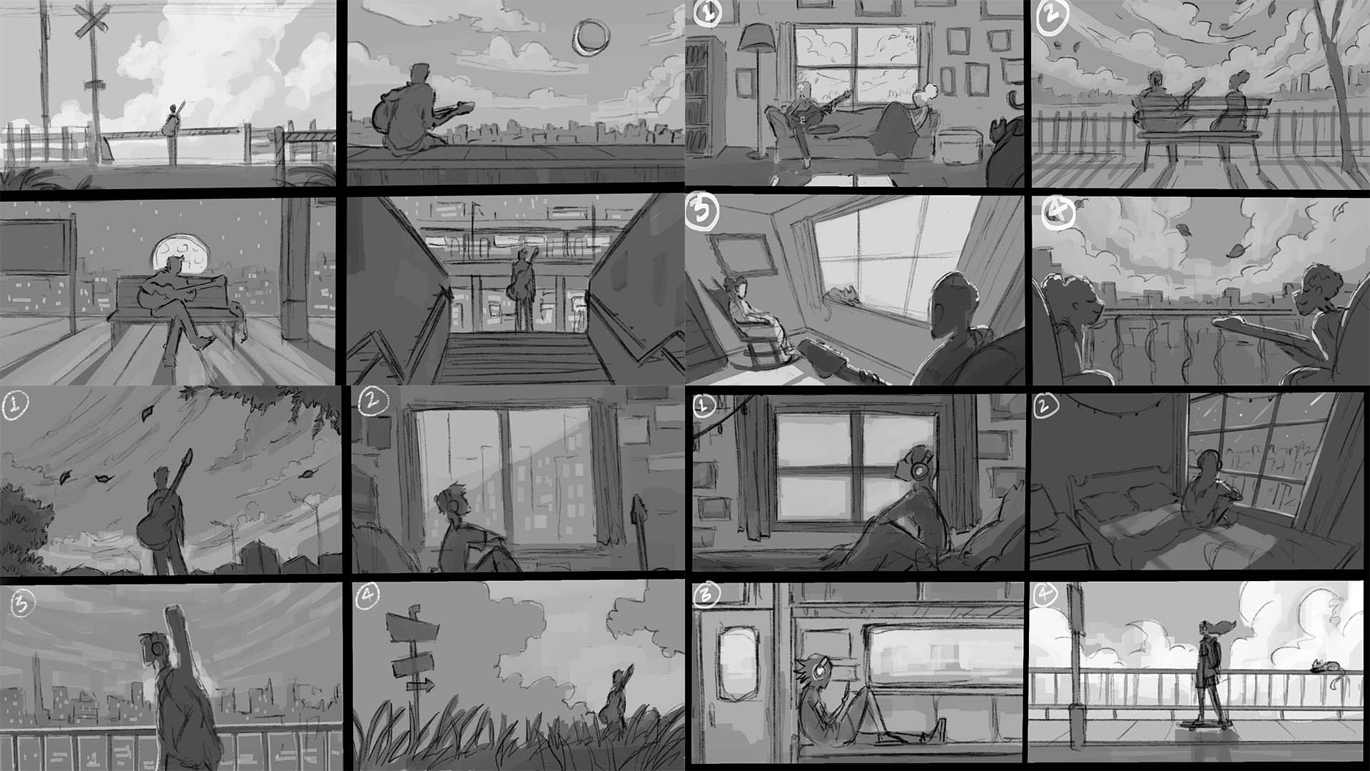 Thumbnails for animated music videos