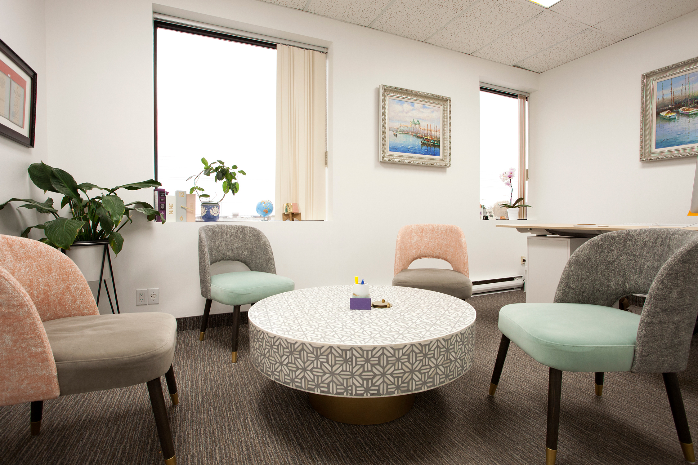 LOYR Law Office Inside design round table chairs pastel colors