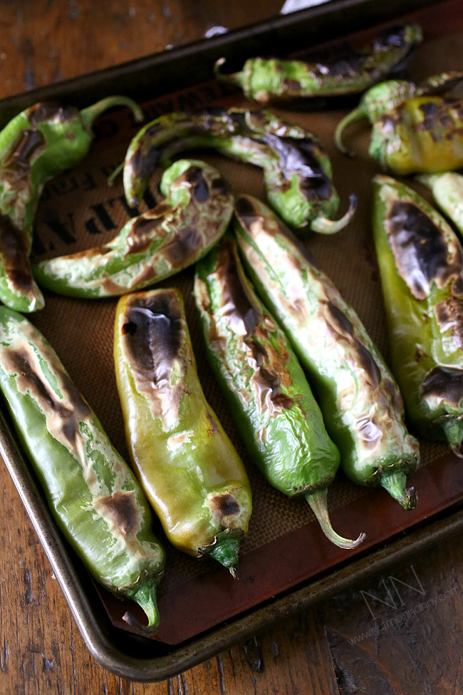 place chiles on a roasting tray