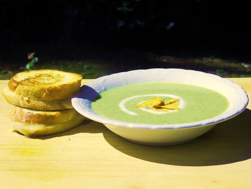 grilled cheese and chile soup