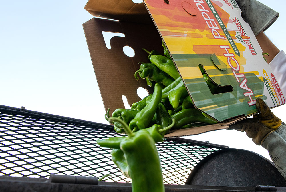 hatch chiles falling out of a box