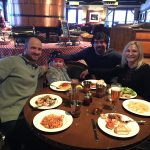 Bill and Son-In-Law Jesse Dickerson, Emma Dickerson and Beth having dinner in Jackson Hole