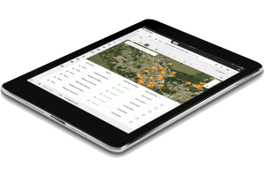 Ipad image with MS4web application showing aerial map