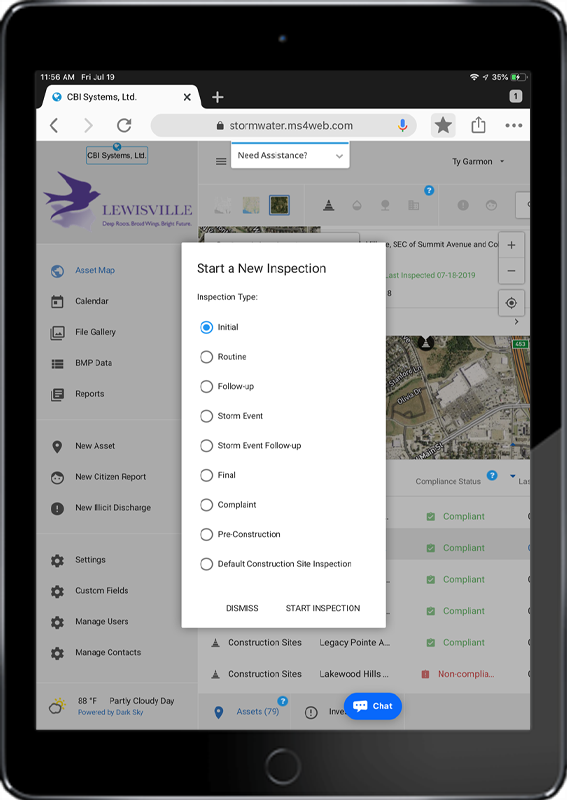 Ipad with MS4web user interface showing inspection types