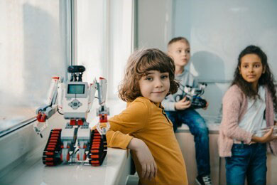Kids with Lego EV3 Robot