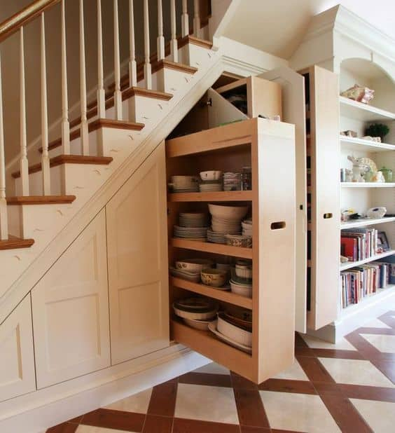 Use the space underneath your stairwell for clever storage