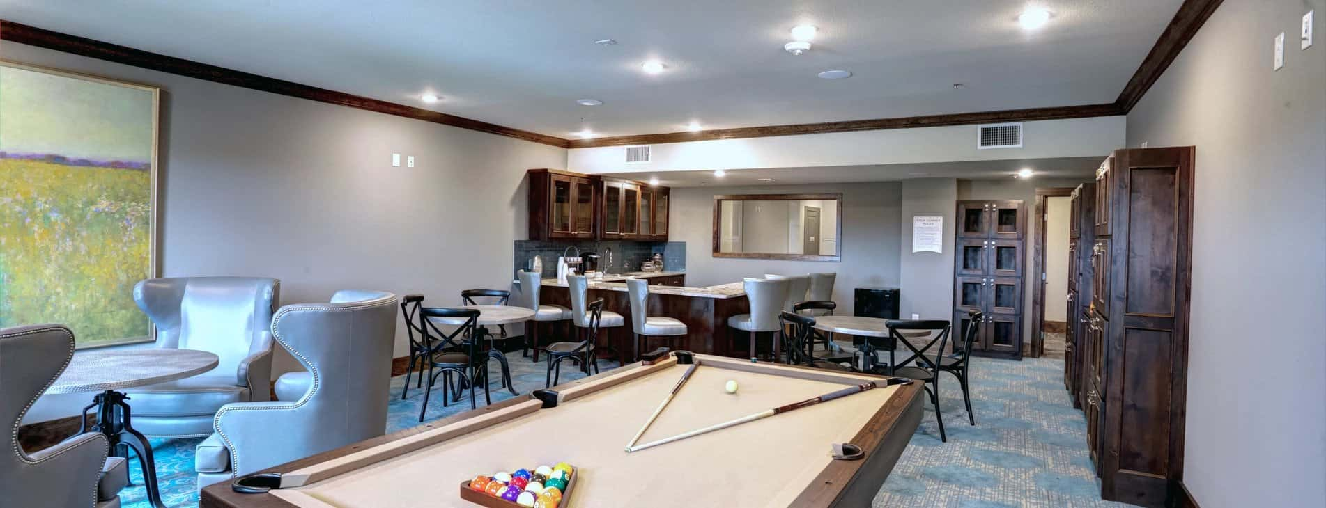 Billiard room design by Larkspur At Twin Creeks