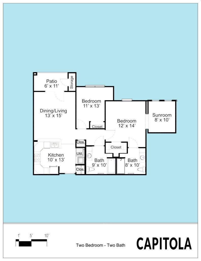 Capitolia - 2 bedroom 2D floorplan in Allen, TX