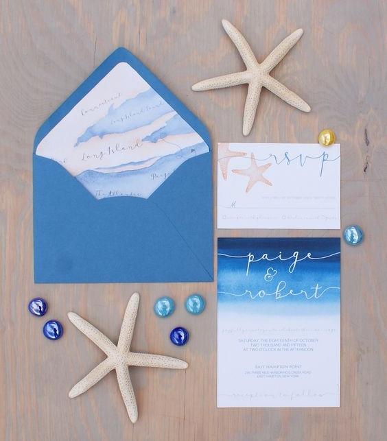 invitaciones con estrella de mar