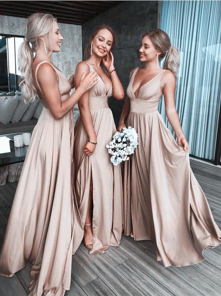 vestidos v-neck para las damas