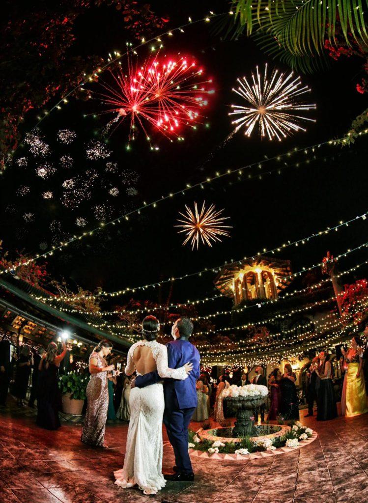 fuegos artificiales para una boda