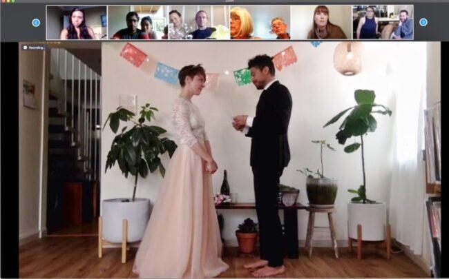 boda realizada por zoom en la pandemia