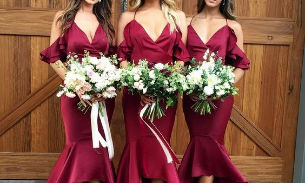 Vestidos V-Neck para las damas de honor