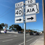 Traffic signs detailing directions to State Road 40 and A1A