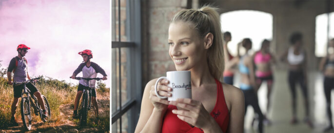 Woman with coffee mug in front of people exercising