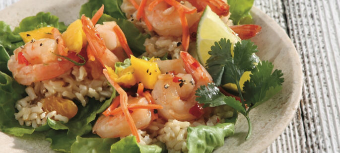 Mandarin Orange Rice and Shrimp Lettuce Wraps