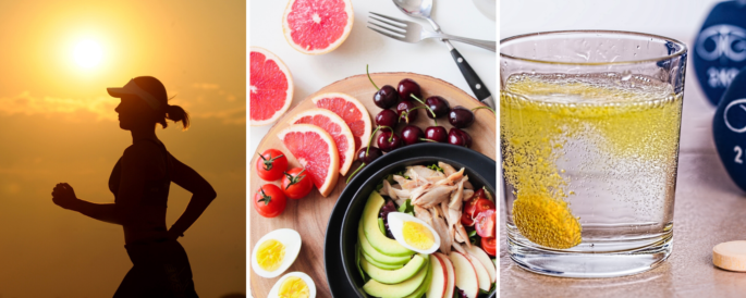 Healthy habits: exercise, food, wellness.
