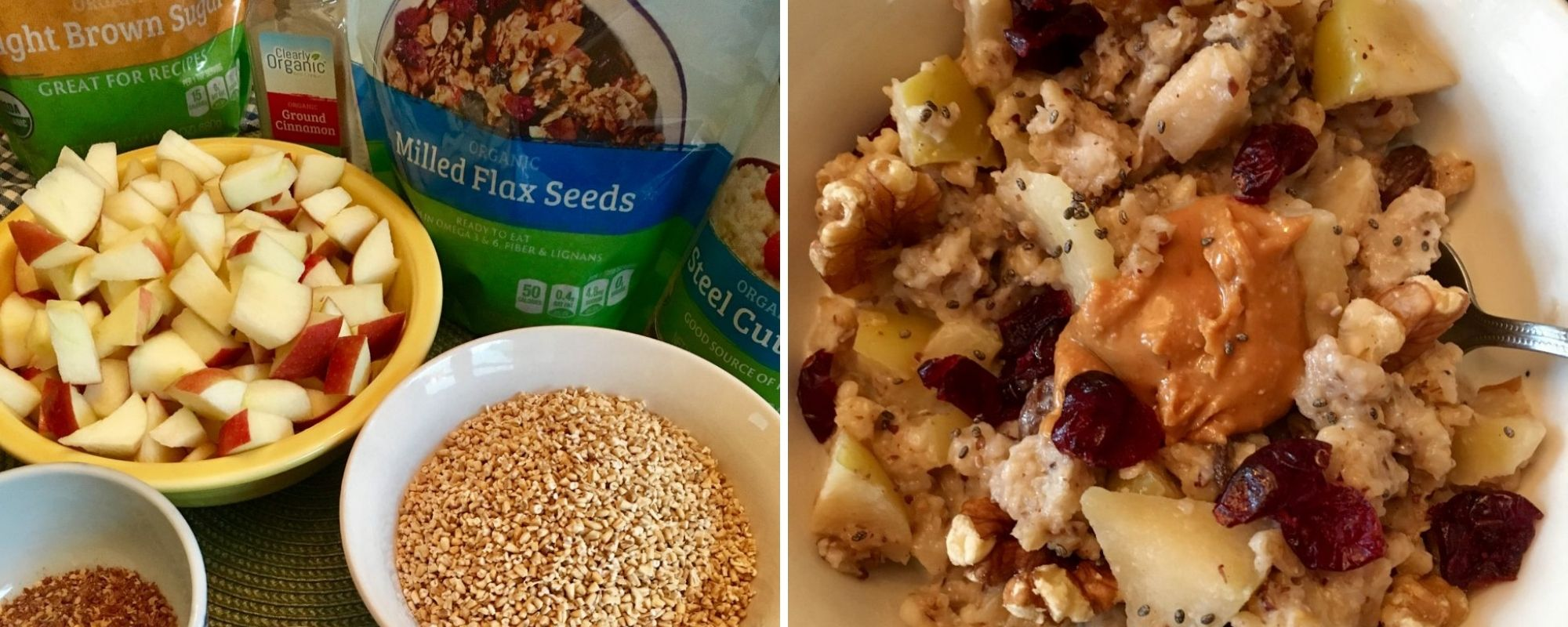 Slow Cooker Apple Oatmeal - before and after
