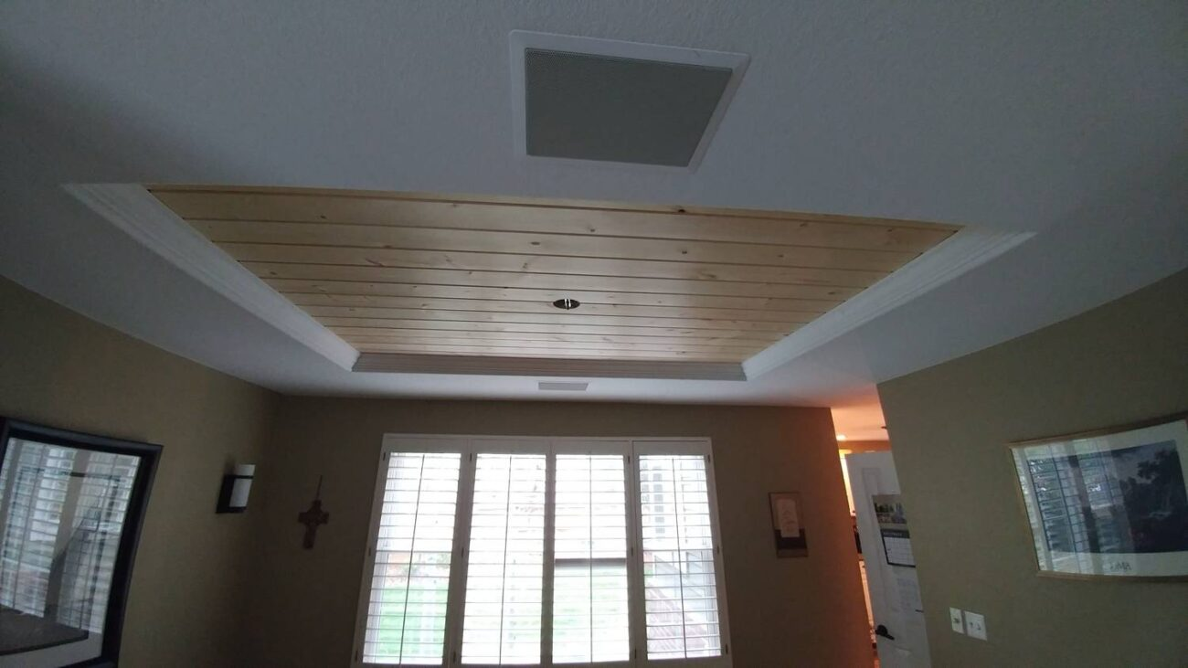 white and wood ceiling