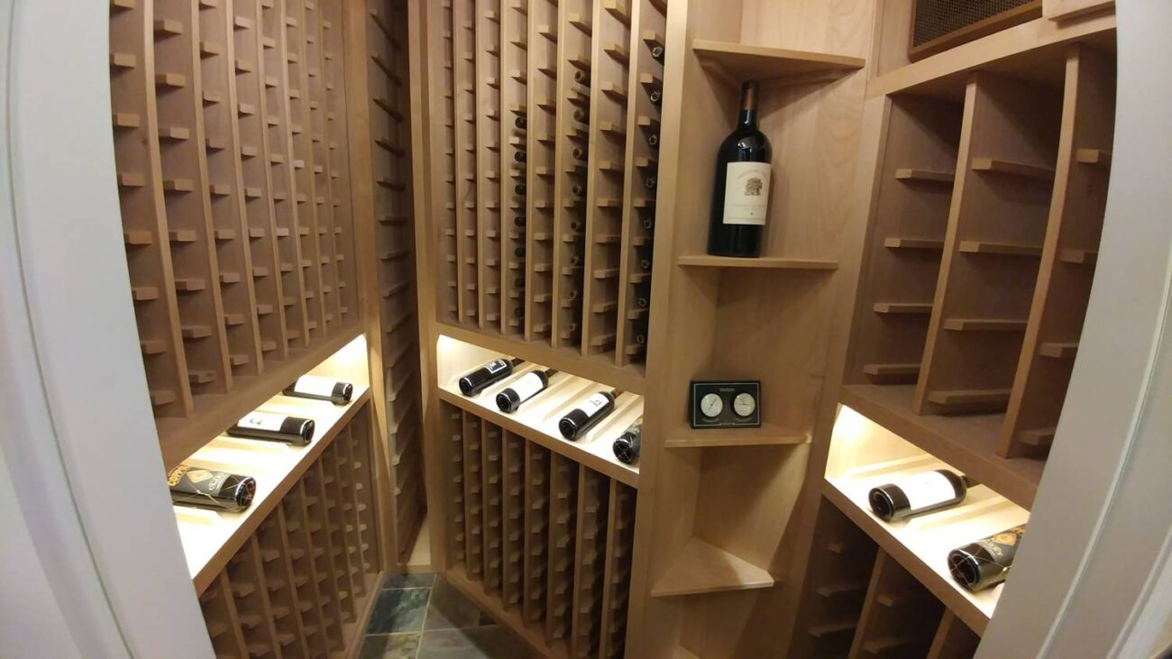 wide pic closeup wine shelve