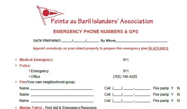 Emergency Phone Numbers & GPS