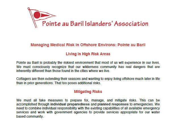 Managing Medical Risk in Offshore Environs: Pointe au Baril
