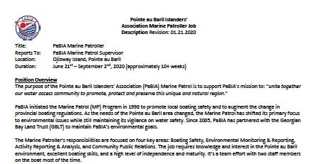 Marine Patrol Job Description