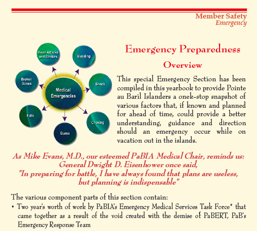 PaBIA Emergency Section from 2018 Yearbook